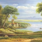 """American style Hand painted oil painting on canvas""""Creek""""70x180CM(27.6""""x70.9"""")Unframed-163"""