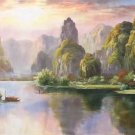"""American style Hand painted oil painting on canvas""""Creek""""70x180CM(27.6""""x70.9"""")Unframed-167"""