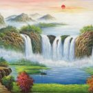 """Hand painted oil painting on canvas""""Creek""""60x120CM(23.6""""x47.2"""")Unframed-179"""
