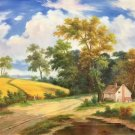 """Hand painted oil painting on canvas""""Image of the countryside""""50x60CM(19.7""""x23.6"""")Unframed-66"""
