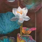 """Chinese style Hand painted oil painting on canvas""""lotus""""60x120CM(23.6""""x47.2"""")Unframed-61"""
