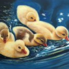 "Simple modern Hand painted oil painting on canvas""Cute duck""50x60CM(20""x24"")Unframed-01"