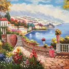 "Mediterranean Hand painted oil painting on canvas""Sea view Villa""60x90CM(23.6""x35.4"")Unframed-67"