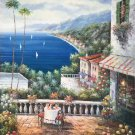 "Mediterranean style Hand painted oil painting on canvas""Sea view Villa""90x120CM(36""x48"")Unframed-72"