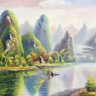 """Hand painted oil painting on canvas""""Creek""""60x120CM(23.6""""x47.2"""")Unframed-218"""