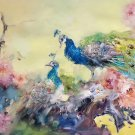 """Simple modern Hand painted oil painting on canvas""""Gorgeous peacock""""70x180CM(27.6""""x70.9"""")Unframed-33"""
