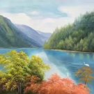 """Hand painted oil painting on canvas""""Creek""""60x120CM(23.6""""x47.2"""")Unframed-303"""