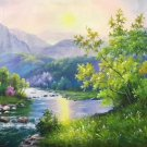 """Hand painted oil painting on canvas""""Creek""""60x120CM(23.6""""x47.2"""")Unframed-344"""