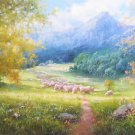 """Hand painted oil painting on canvas""""Creek""""60x160CM(24""""x63"""")Unframed-357"""