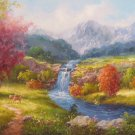 """Hand painted oil painting on canvas""""Creek""""60x160CM(24""""x63"""")Unframed-358"""