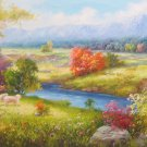 """Hand painted oil painting on canvas""""Creek""""60x160CM(24""""x63"""")Unframed-359"""