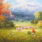"""Hand painted oil painting on canvas""""Creek""""60x160CM(24""""x63"""")Unframed-360"""