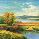 """American style Hand painted oil painting on canvas""""Creek""""70x180CM(27.6""""x70.9"""")Unframed-362"""