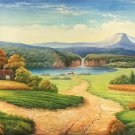 """American style Hand painted oil painting on canvas""""Creek""""70x180CM(27.6""""x70.9"""")Unframed-363"""