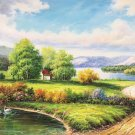 """Hand painted oil painting on canvas""""Creek""""80x200CM(33""""x80"""")Unframed-367"""