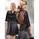 Women Gorgeus Luxory Nightwear Lace Neck Robe Sleepwear Nightgown