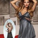 Women Satin Spotty  Nightwear Sleepwear Gown Sexy Polka Dot Dress Lingerie