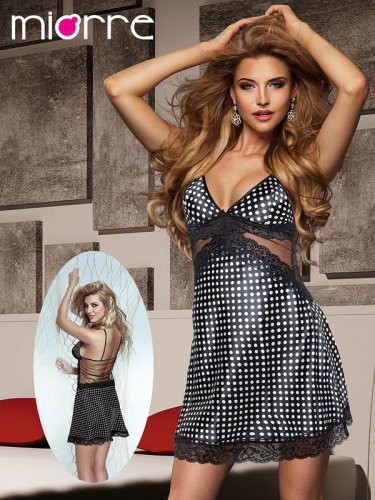 Women Satin Spotty  Nightwear Sleepwear Gown Sexy Polka Dot Dress Lingerie