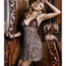 Women Lace Short Nightwear Sleepwear S String Leopard Sexy Dress Set Lingerie
