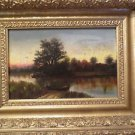 Antique 19th Century Hudson River Landscape Oil Painting on Canvas.