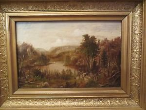 ANTIQUE 19TH CENTURY ORIGINAL AMERICAN MASTER VICTORIAN PAINTING OIL ON CANVAS.