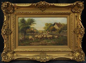 Antique 19th FRENCH OIL PAINTING PASTORAL SCENE A.BOUILLE