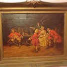 "Antique European School 18th c.Fine Art Painting Oil on Canvas "" FAMILY SCENE"""