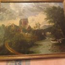 Antique 19th Century Continental School Castle Landscape on Canvas Oil Paintin.