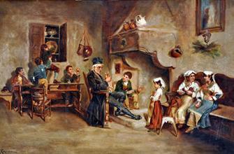 Antique Ciro Cozzolino (1876-1946) Italian Oil On Canvas Painting.