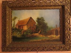 19th c Antique Baccy Oil / Canvas Continental Landscape Watermill Painting.