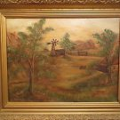Antique American Walter Long 1940 Western Farm Landscape Oil/Canvas Painting