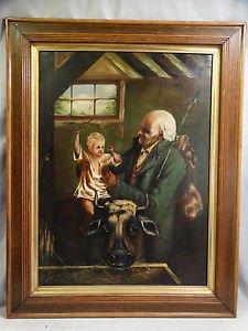 19th Century Continental School Antique Victorian Era Grandfather and child.
