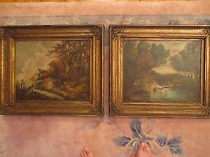 Antique 19th Two Painting L. Doriat French Impressionist Landscape Oil/Canvas