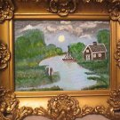 Antique Hudson River Oil Painting on Board.