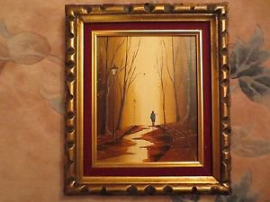 Old Signed Landscape Oil Painting 10X8.