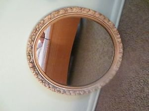 Vintage Ornate Oval Gold Victorian Hanging Wall Mirror 23x19""