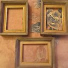 Three Small Vintage Wood Picture Frames 7 x 5 .