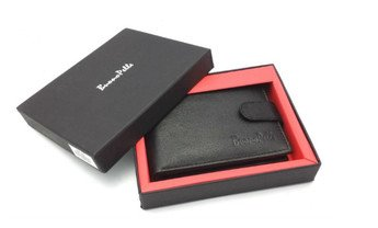 Black leather wallet, credit card holder, bi-fold