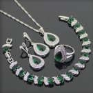 Green Necklace Bracelet Earrings and ring SET