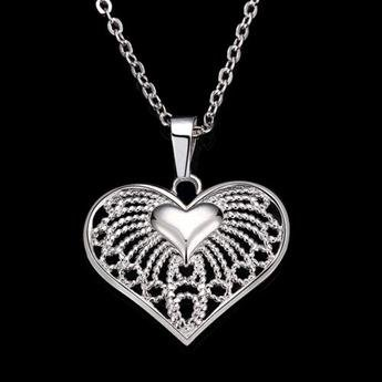 Love heart Pendant & Necklace, Silver Plated Heart