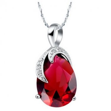 White gold necklace with Red crystal Swarovski elements