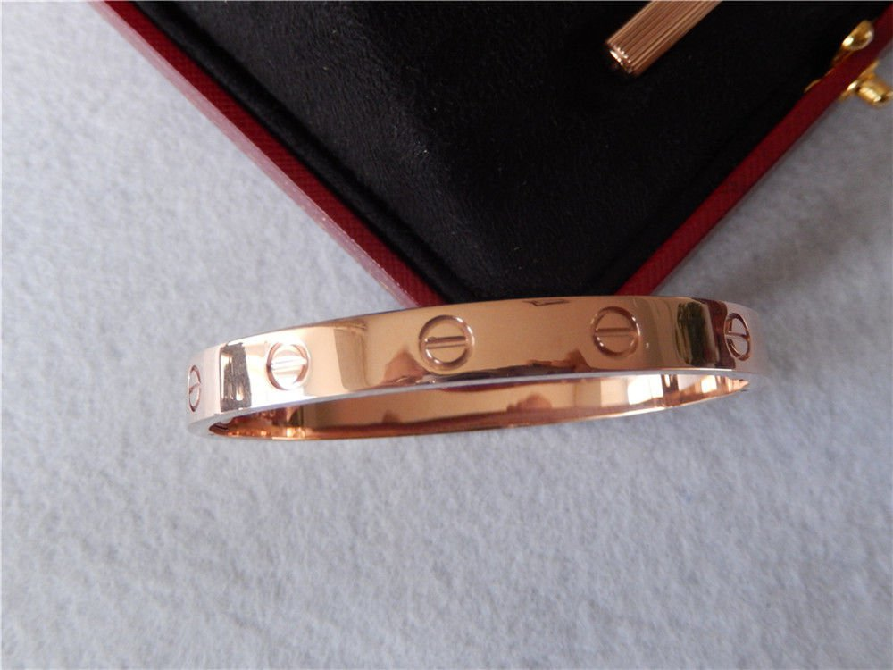 *~BEAUTIFUL ROSE GOLD LOVE SCREW BRACELET ~* SIZE 17