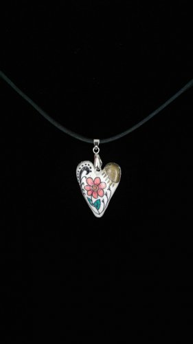 Heart Pendant with Flower and sun