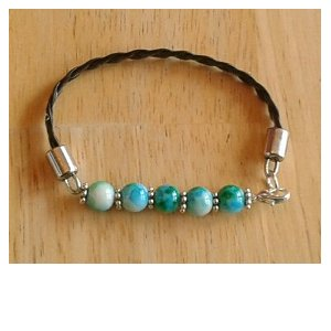 Leather & Green Bead Bracelet