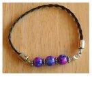 Leather & Purple Glass Bead Bracelet