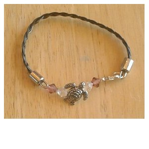 Braided leather beaded bracelet with turtle