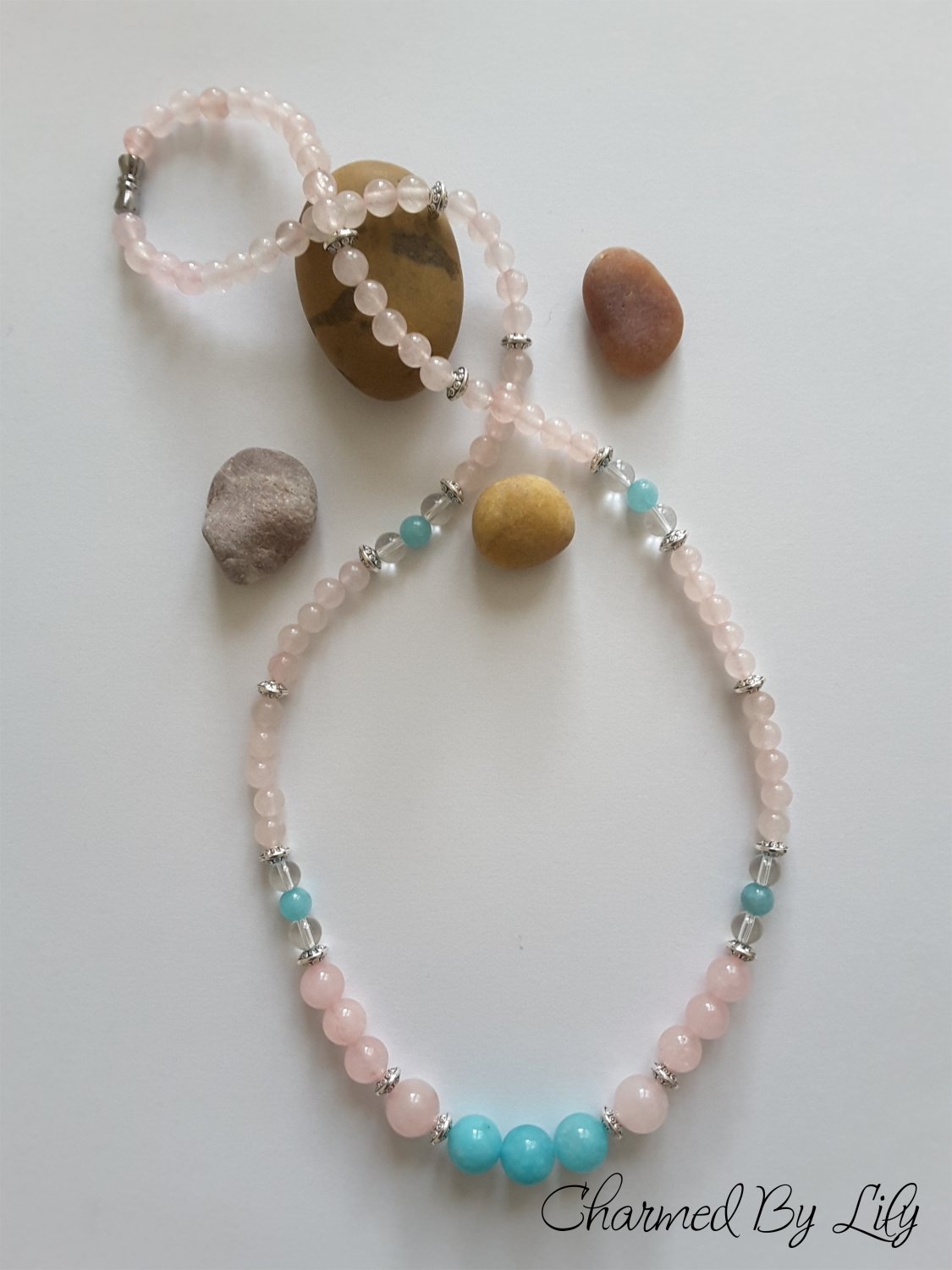 Rose Quartz And Amazonite Necklace. Genuine Rose Quartz, Amazonite and Clear Quartz Stones.