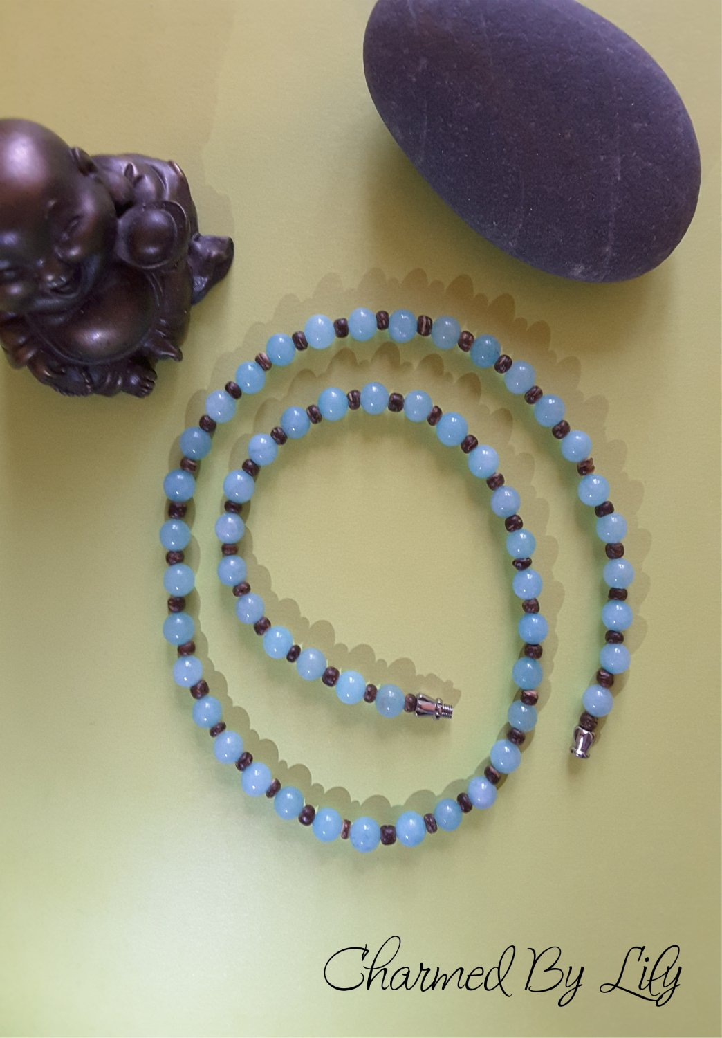 Angelic Amazonite Meditation Necklace. Genuine Natural Amazonite stones.