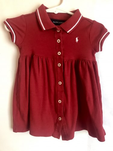 BABY TODDLER GIRLS POLO RALPH LAUREN RED & WHITE SIZE 18M