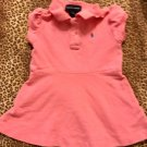 TODDLER GIRLS PINK POLO RALPH LAUREN FLARED DRESS 100% COTTON WITH BLUE PONY SIZE 18M
